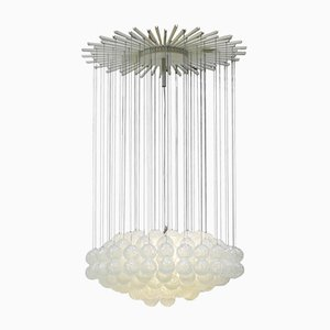 Lámpara colgante italiana Mid-Century moderna de vidrio de Zero Quattro
