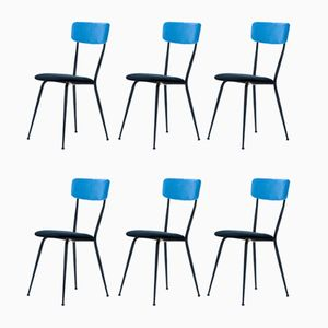 Italian Iron Frame Dining Chairs, 1950s, Set of 6