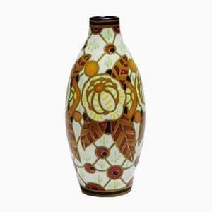 Art Deco Floral Peacock-Eyed Vase by Charles Catteau from Keramis Boch