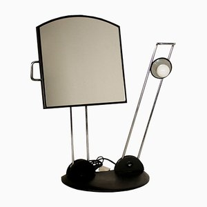 Vintage Italian Table Mirror with Light, 1980s