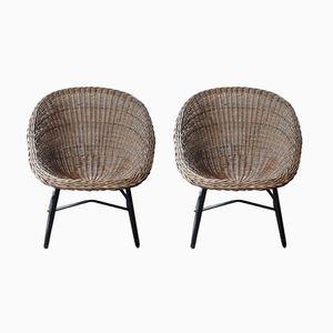 Mid-Century Scoop Stühle aus Korbgeflecht, 1970er, 2er Set