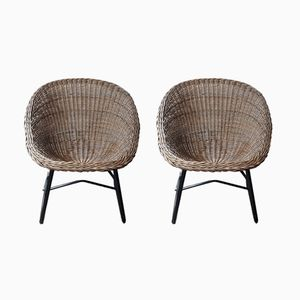 Mid-Century Wicker Scoop Chairs, 1970s, Set of 2