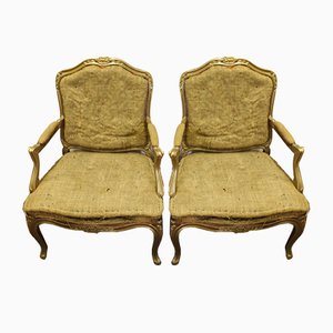 Vintage Gilt Armchairs, 1940s, Set of 2