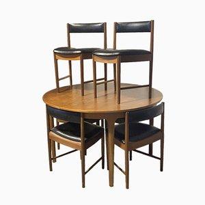 Ausziehbarer Mid-Century Esstisch & Stühle von McIntosh