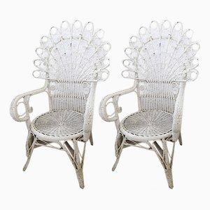 Stühle aus Korbgeflecht, 1950er, 2er Set