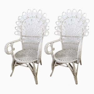 Wicker Chairs, 1950s, Set of 2