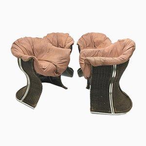 Vintage Venus Armlehnstühle aus Korbgeflecht und Leder von Pieff, 4er Set