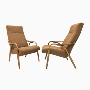 Vintage Brown Bentwood Armchairs from Ton, Set of 2