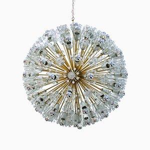 Lámpara Sputnik vienesa Mid-Century de cristal de Murano y latón de Emil Stejnar
