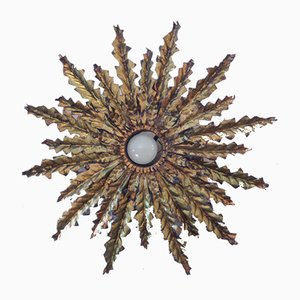 Metal Sunburst Wall Light, 1950s
