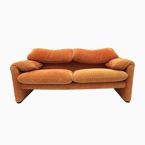 Orangefarbenes Vintage Maralunga 2-Sitzer Sofa von Magistretti für Cassina, 1973