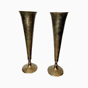 Jarrones anglo-indios antiguos de bronce grabado. Juego de 2