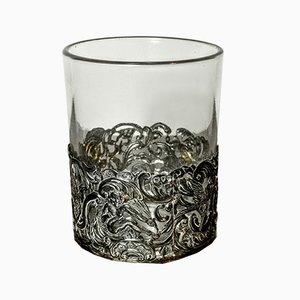 Glas mit Silberdekor, 19. Jh.