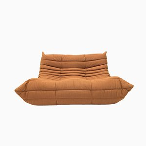 Vintage Orange Brown Two-Seater Togo Sofa by Michel Ducaroy for Ligne Roset