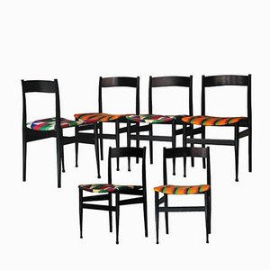 Mid-Century Italian Black Lacquered Wood & Kitenge Chairs, 1950s, Set of 6