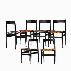 Mid-Century Italian Black Lacquered Wood & Kitenge Chairs, 1950s, Set of 6
