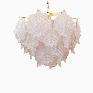 Lámpara de araña grande con hojas de cristal de Murano de Mazzega, años 70