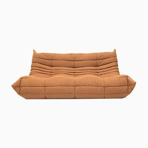 Vintage Orange Brown Three-Seat Togo Sofa by Michel Ducaroy for Ligne Roset
