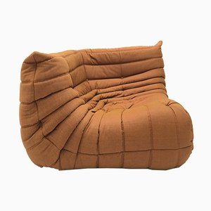 Vintage Orange Brown Corner Togo Sofa by Michel Ducaroy for Ligne Roset