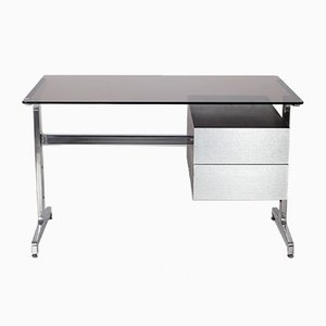 Smoked Glass, Brushed Steel & Wood Desk from Roche Bobois, 1970s