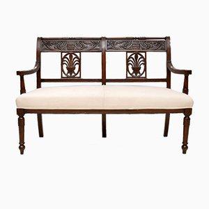 Antike viktorianische geschnitzte Sitzbank aus Mahagoni, 1860er