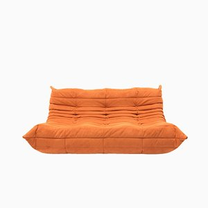 Canapé Togo Vintage à 3 Places Marron Orange par Michel Ducaroy Ligne Roset