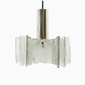 Lámpara colgante de cristal de hielo de Kaiser, años 70