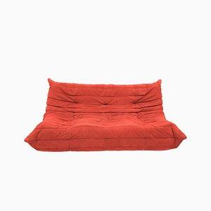 Sofá de tres plazas Togo vintage en rojo de Michel Ducaroy Ligne Roset