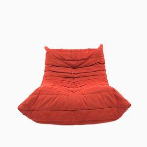 Sofá Togo vintage con asiento en rojo de Michel Ducaroy Ligne Roset