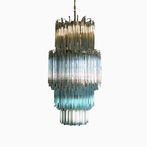 Large Multicolored Quadriedri Murano Glass Chandelier from Mazzega, 1984