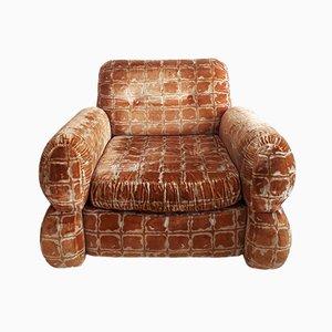 Italienischer Sessel aus Samt & Chrom, 1970er
