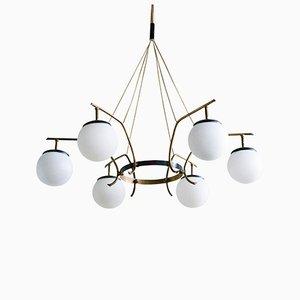 Lámpara de araña italiana de latón de Arredoluce, años 50