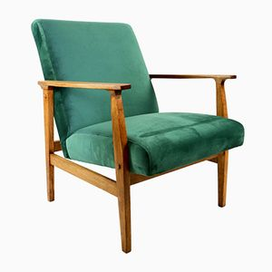 Vintage Green Velvet Easy Chair, 1970s