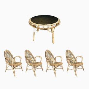 Juego de mesa de centro y cuatro sillas de jardín de Janine Abraham, años 50