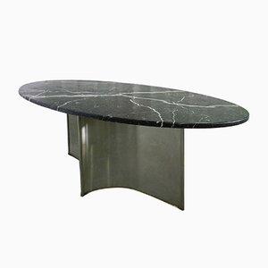 Mesa de comedor vintage de metal, mármol y acero, años 70