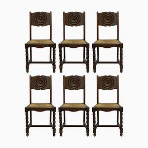 Französische Art Deco Esszimmerstühle mit geflochtenen Sitzen, 6er Set
