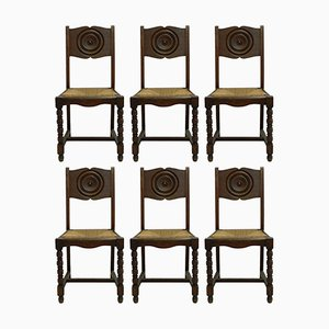 French Art Deco Dining Chairs with Rush Seats, Set of 6