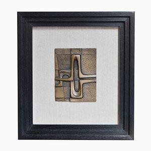 Kleine abstrakte Bronze-Tafel von Piero Gensini, 1970er