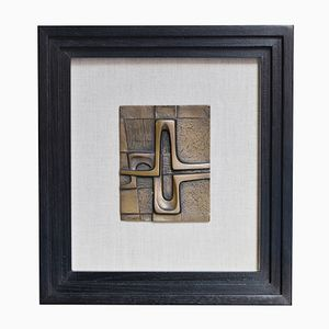 Small Abstract Bronze Plaque by Piero Gensini, 1970s