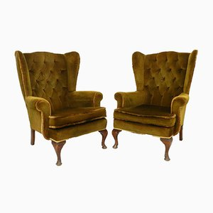 Vintage Tufted Wingback Armchairs, Set of 2