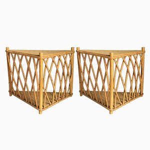 Rattan Shelves, 1950s, Set of 2