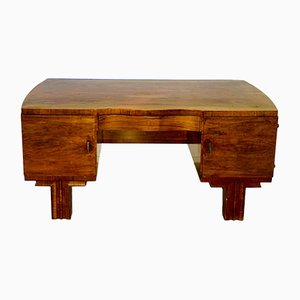Art Deco French Walnut Desk with Brass Handles, 1920s