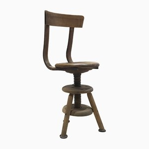 Wooden Adjustable Stool with Backrest, 1950s