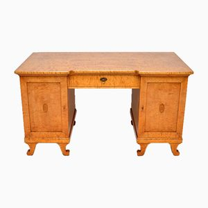 Large Antique Swedish Biedermeier Satin Birch Desk, 1850s