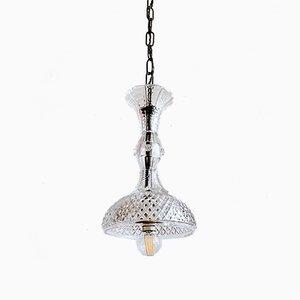 Lámpara colgante inglesa vintage de cristal, años 20
