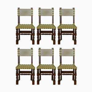 Spanische Vintage Stühle aus verziertem Leder & Eichenholz, 6er Set