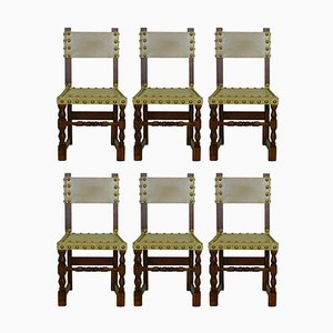 Vintage Spanish Brass Studded Leather & Oak Chairs, Set of 6
