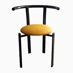 Vintage Black Lacquered Metal and Yellow Fabric Chair