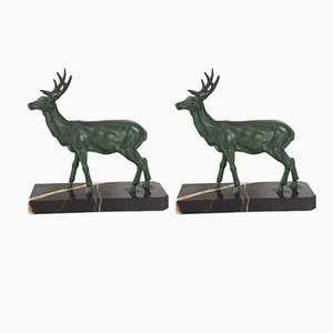 Art Deco French Bronze and Marble Deer and Doe Bookends, 1920s, Set of 2