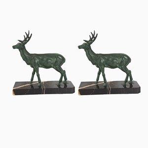 Sujetalibros de ciervo y cierva franceses Art Déco de bronce y mármol, años 20. Juego de 2